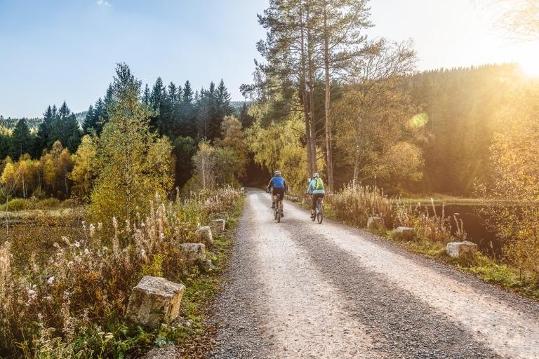 Radfahrer am Schluchsee - Vier Jahreszeiten am Schluchsee