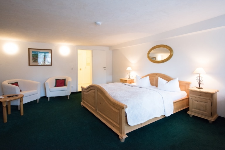 Schlafzimmer der Suite im Hotel Schiff